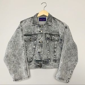 80s 90s oversized cropped acid washed denim jacket